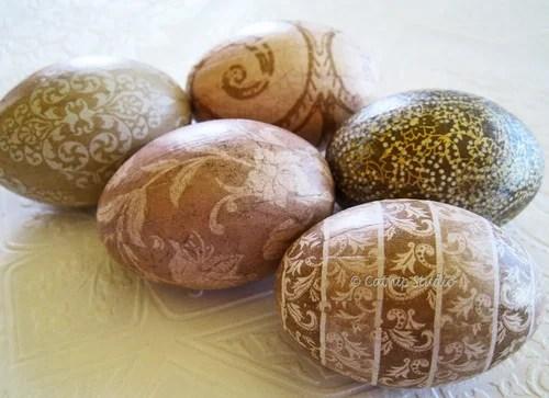 пасхальные яйца жухлых тонов