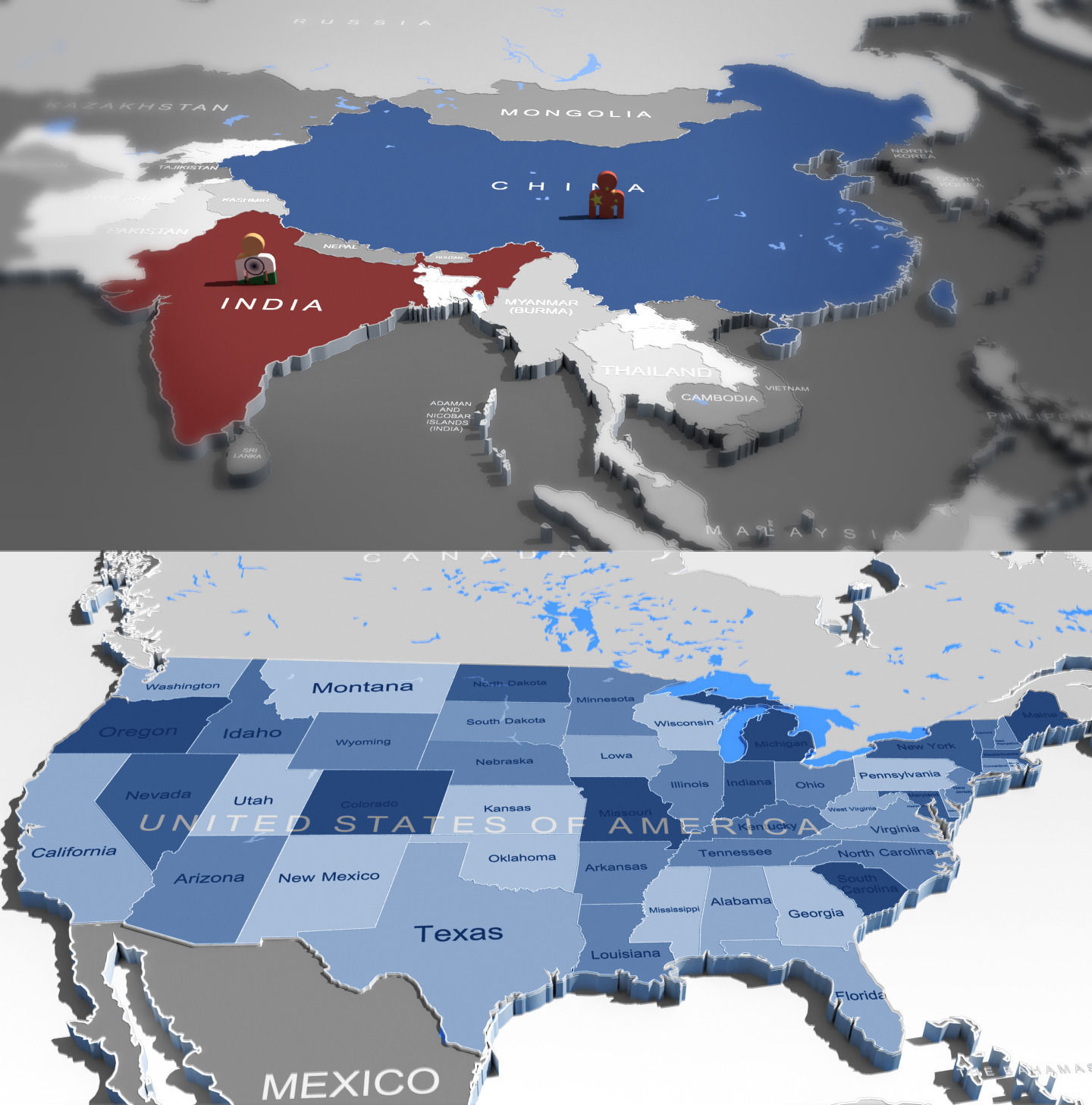 3d world map and usa map   CGTrader 3d world map and usa map 3d model max obj fbx mtl 1