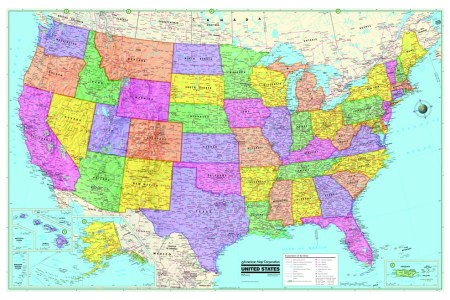usa/united states & world wall maps posters new | ebay