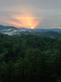 Guest picture from deck of cabin! at Auburn Sky in Shagbark TN