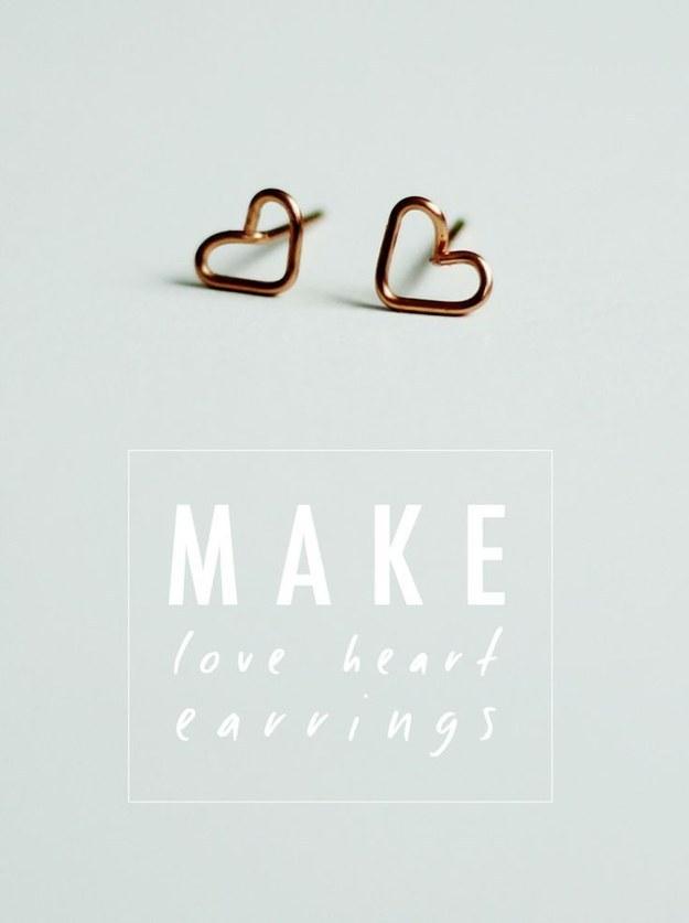 Tiny Wire Heart Earrings