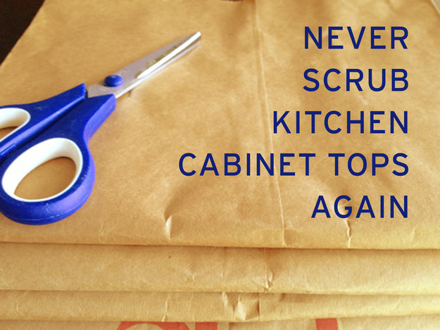 Dust and wipe down the top of your counters and fridge, then lay down paper grocery bags to catch dust in the future.