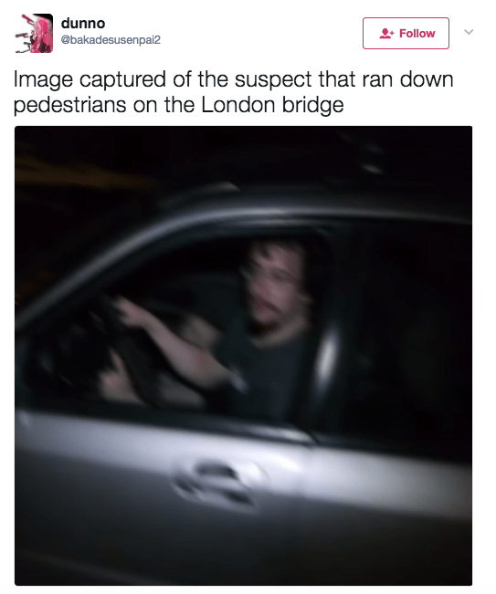 As happened during the Manchester Arena terror attack, trolls immediately took advantage of the terror incidents at London Bridge and Borough Market to tweet unrelated pictures and smear their opponents.One image posted by several Twitter accounts claimed to show a picture of the suspect behind the wheel of a silver car. In reality he is Samuel Hyde, an American comedian, writer, and actor.