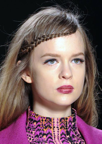 Waterfall Braided Bangs at Nanette Lepore Fall/Winter 2014 Fashion Show of 1 by Michael