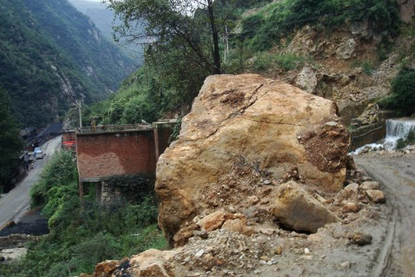 A gaint rock brought down by the landslide.