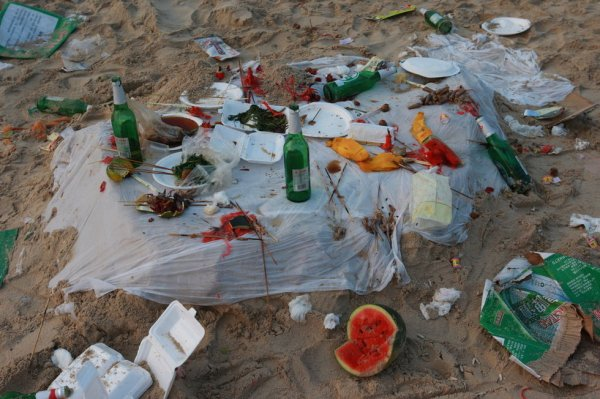 The garbage left on the beach.