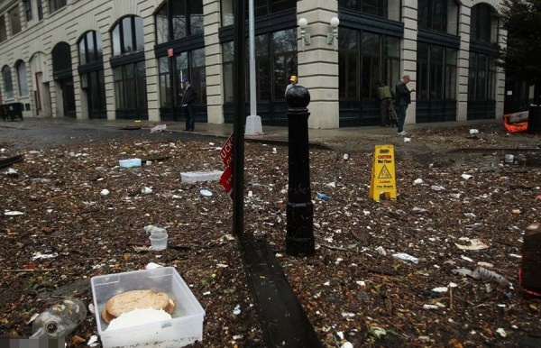 Debris on American streets after Hurricane Sandy.