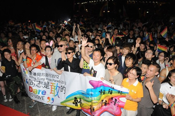 Gay people are parading in Hong Kong.