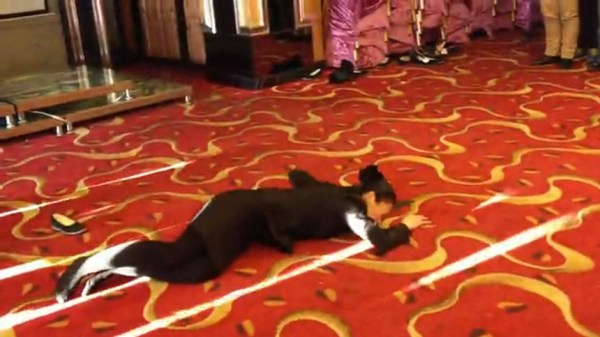 A Chinese female manager for a restuarant in Dandong, Liaoning province of China lies on the floor after having repeatedly flung herself at a ribbon as part of a motivational group activity and performance.