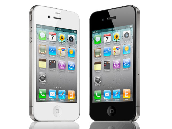 Apple iPhone 4, white and black side-by-side.