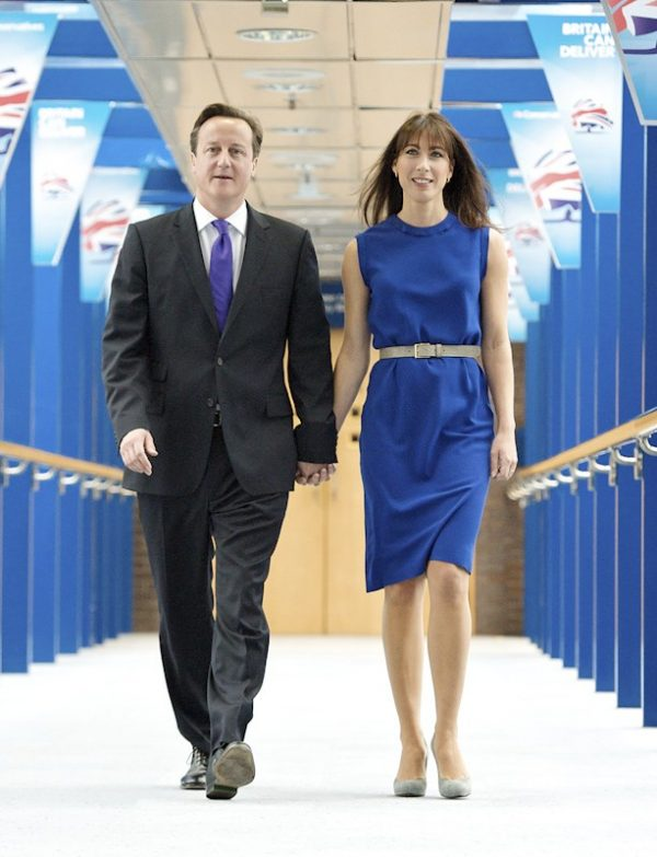 United Kingdom's David and Samantha Cameron.