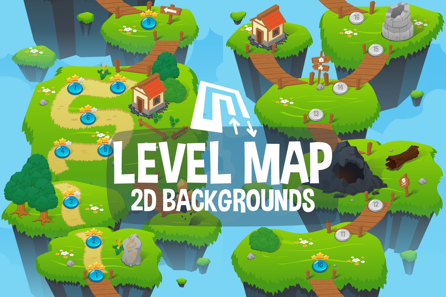 Level Map 2D Game Backgrounds   CraftPix net Level Map 2D Game Backgrounds