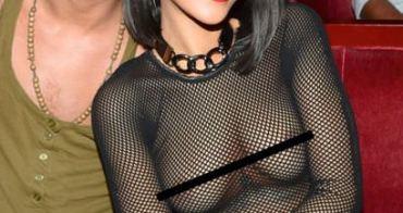 蕾哈娜 巴黎時尚派對大方露出穿針乳頭