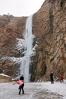 A waterfall frozen mid-air in China