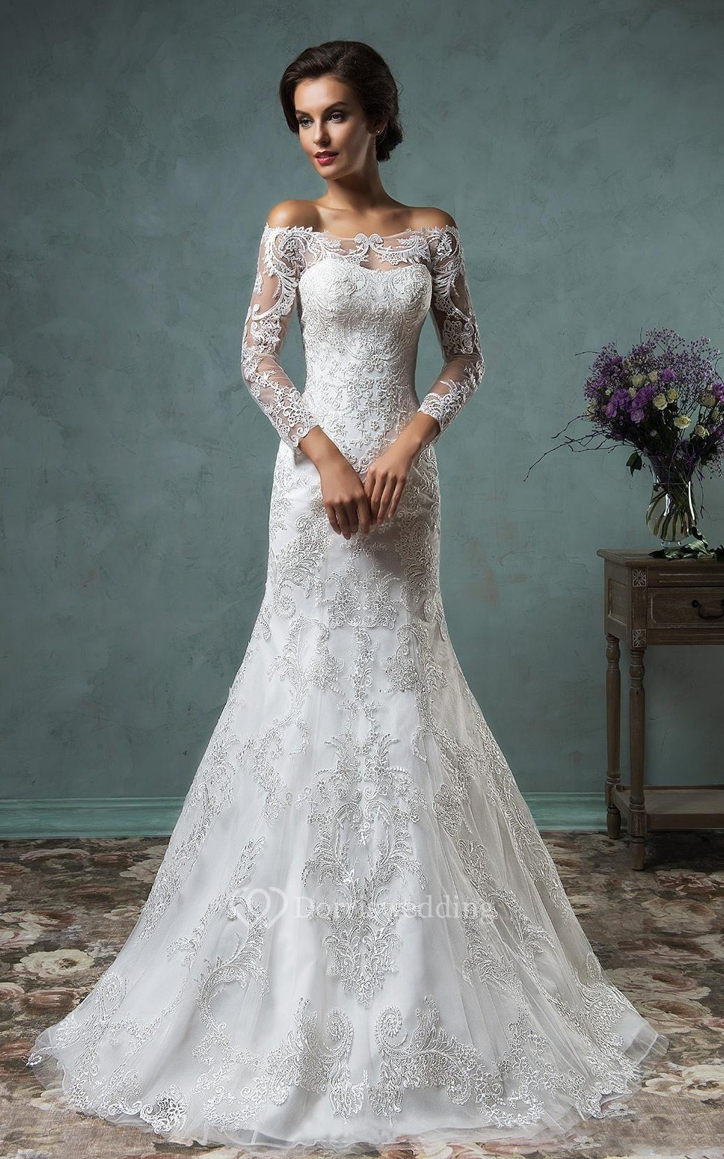 cheap wedding dresses lace flowy wedding dress A Line Mini Off The Shoulder Long Sleeve Bell Beading Appliques Button Lace