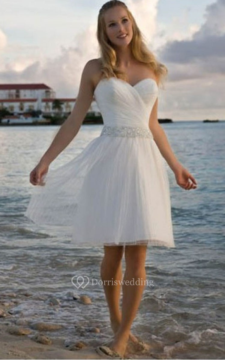 short wedding dresses wedding dresses short Angelic Crisscross Ruched Bodice Short Dress With Beaded Waist