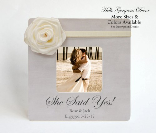 Multipurpose Engagement Gift To Couple Frame Personalized She Said Yes Gift Toher Engaged Wedding Gift Ideas Custom Photo Frames Bridal Shower Engagement Gift To Couple Frame Personalized She Said Yes