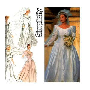 Garage Plus Size Wedding Dress Pattern Simplicity Princess Seams Fullskirt Puff Sleeves Train Size Uncut Factory Fed Size Wedding Dress Pattern Simplicity Princess Seams
