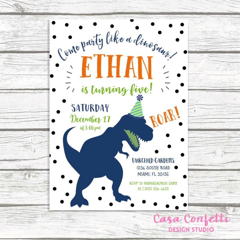 Large Of Dinosaur Birthday Invitations