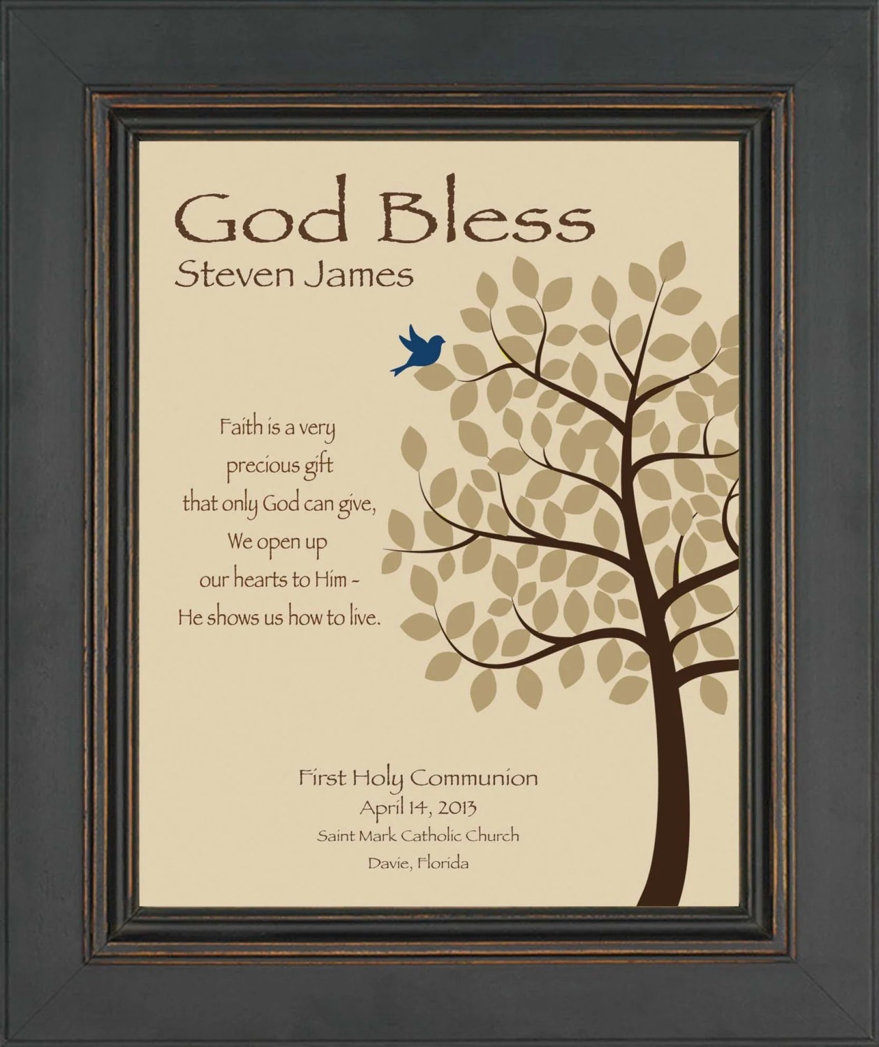 Personalized Communion Gift First Holy Communion Print Boy