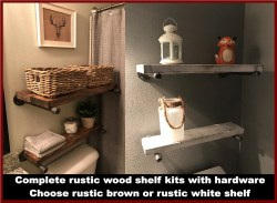 Small Of Wooden Shelves Bathroom