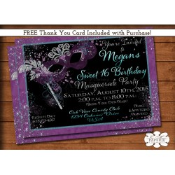 Artistic Masquerade Invitations Masquerade Invitations 16 Invitations Wording 16 Invitations Diy invitations Sweet 16 Invitations