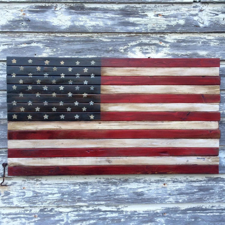 Wood American Flag Art