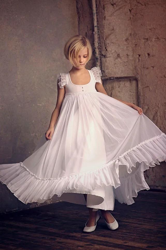 First Communion Dress Flower Girl White Chiffon Dress