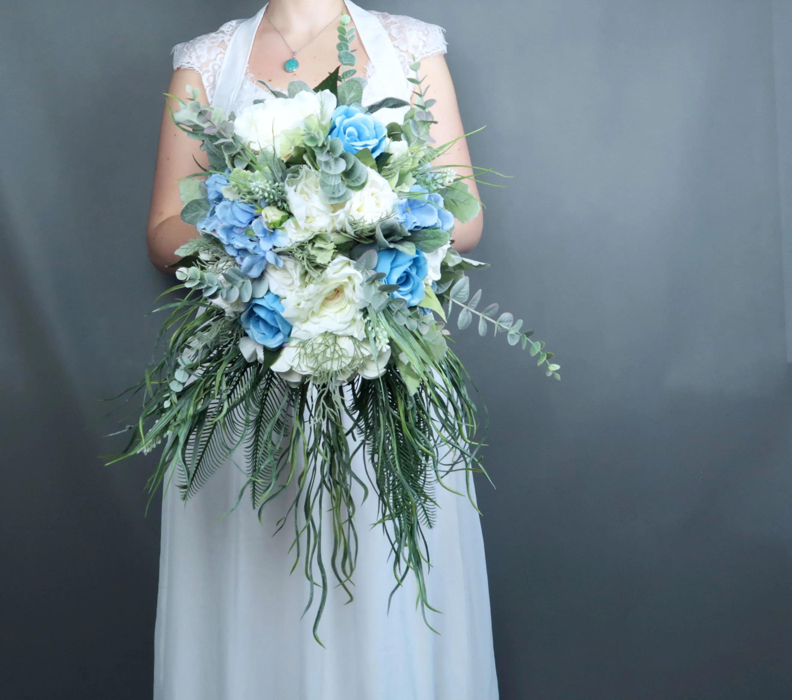Cascading Greenery Pastel Blue White Ivory Flowers Bridal Bouquet