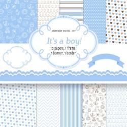 Splendiferous Baby Boy Digital Paper Instant Download Baby Digital Babyshower Blue Blue Printable Baby Paper Pack Baby Boy Digital Paper Instant Download Baby Digital