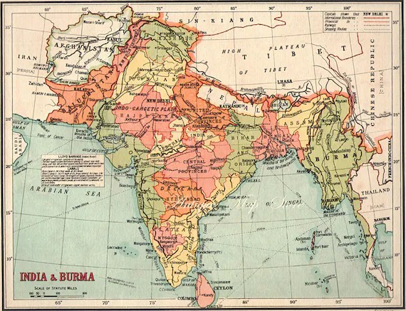 INDIA Map1940 countries nations atlas antique map 9 x 7
