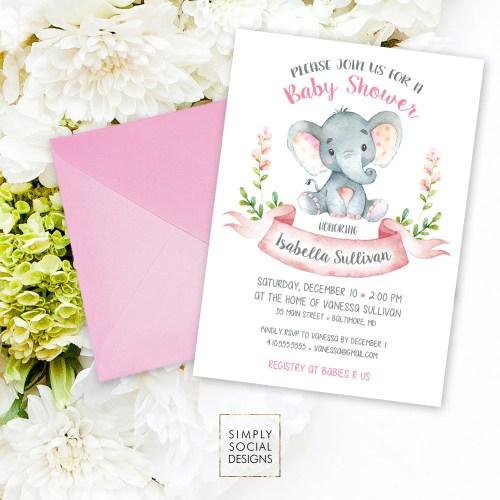 Medium Of Elephant Baby Shower Invitations