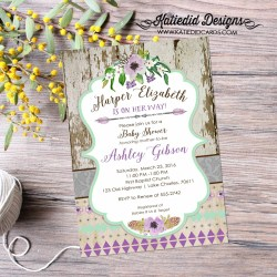 Preferential Couples Shower Invitation Baby Girl Bridal Purple Happily Ever After Tribalfloral Mint Two Moms Boho Brunch Coed Katiedid Designs Couples Shower Invitation Baby Girl Bridal Purple Happily