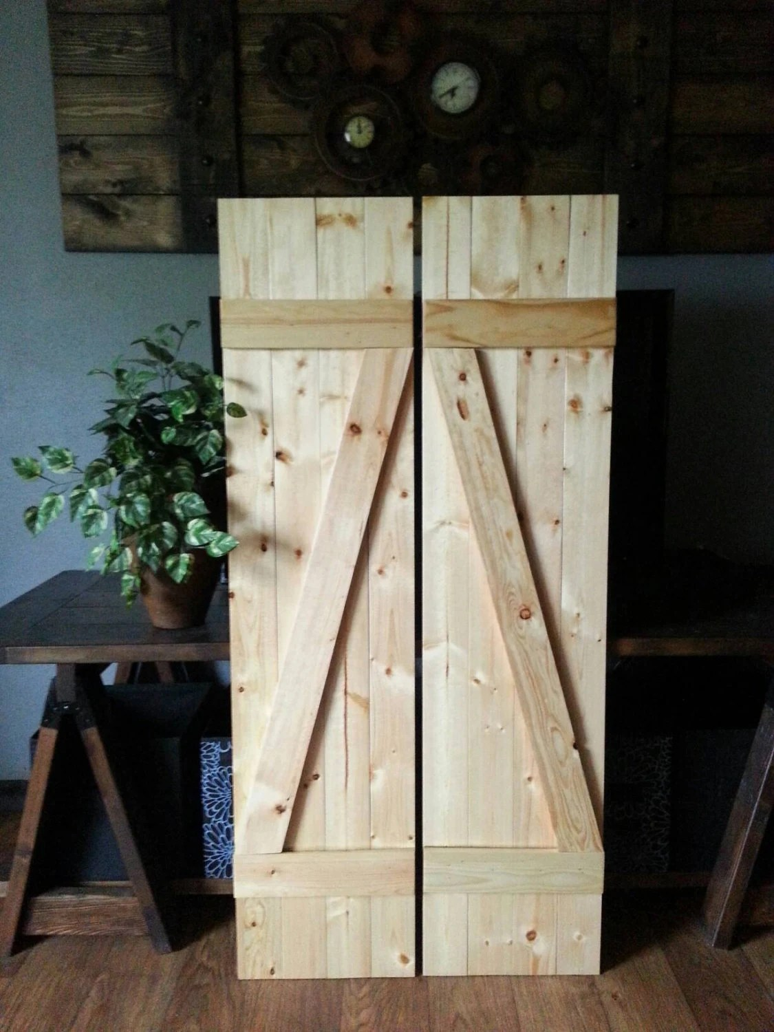 Stunning Z Bar Rustic Wood Shutters Wooden Shutters Barnwood Style Interior Decorative Shutters Rustic Home Decor Z Bar Rustic Wood Shutters Wooden Shutters Barnwood Style home decor Rustic Wood Home Decor