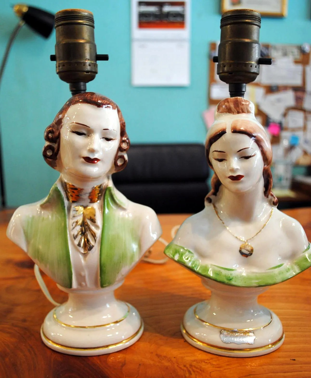 Sale Vintage Pair Victorian Lamps Man Woman Hand Painted