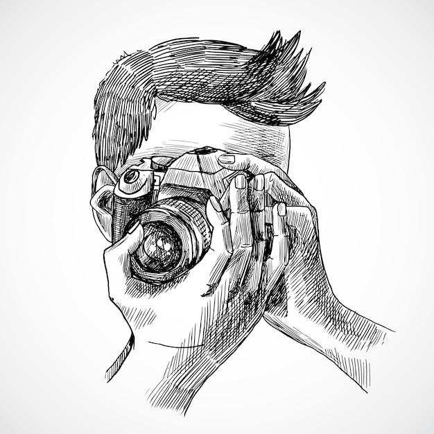 Camera Sketch Vectors  Photos and PSD files   Free Download Photographer sketch portrait