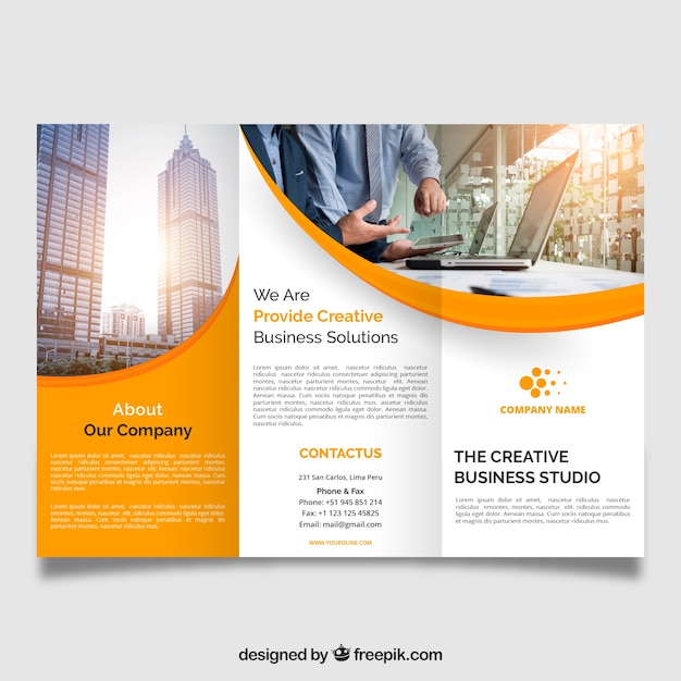 Trifold Brochure Vectors  Photos and PSD files   Free Download Professional wavy trifold brochure