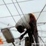 【グロ動画】電線の上で感電して生きながら燃える・・・