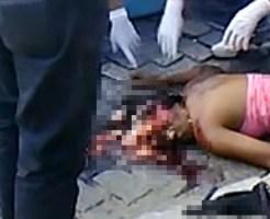 【グロ動画】頭をピンポイントで轢かれた若い女性の脳みそが・・・