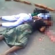 【グロ動画】母子が轢かれ二人並んで脳みそが・・・ 閲覧注意