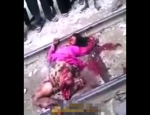 【自殺グロ】女性が電車に飛び込んで死に切れなかった時の顔が・・・