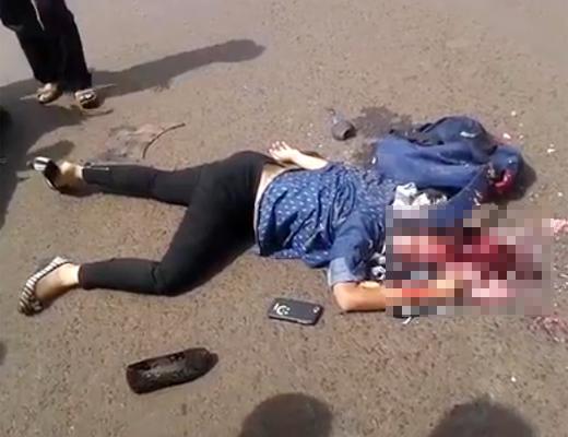 【グロ動画】歩きスマホして頭をひき潰された若い女性がこちら・・・