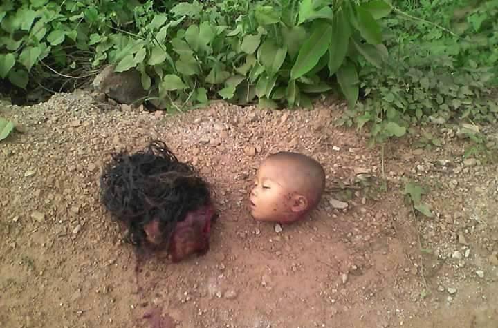【グロ画像】妻殺して子供も殺して二人が寂しくないように首を隣同士で並べてあげた ※閲覧注意