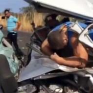 【閲覧注意】リアルすぎる事故後映像…車はグチャグチャ、中の人間も・・・
