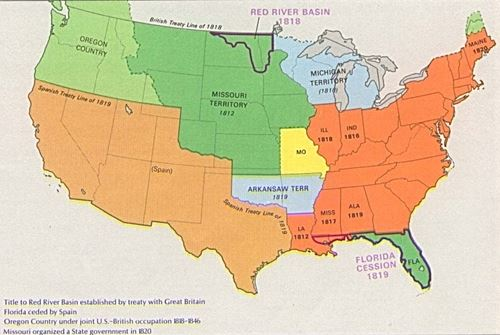 Missouri Compromise   36     30    Enid  Oklahoma   Great Lines of     Map of United States in 1820  Source   http   en wikipedia org wiki File USA Territorial Growth 1820 jpg Wikipedia  Commons accessed on January 6  2010