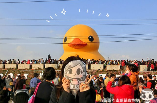 【展覽】桃園新屋後湖塘「黃色小鴨」,五線譜鴨爆破前