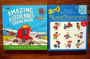 小小孩坐飛機書單|Amazing Aeroplanes飛機音效書,還有70種樂器聲音圖卡大百科