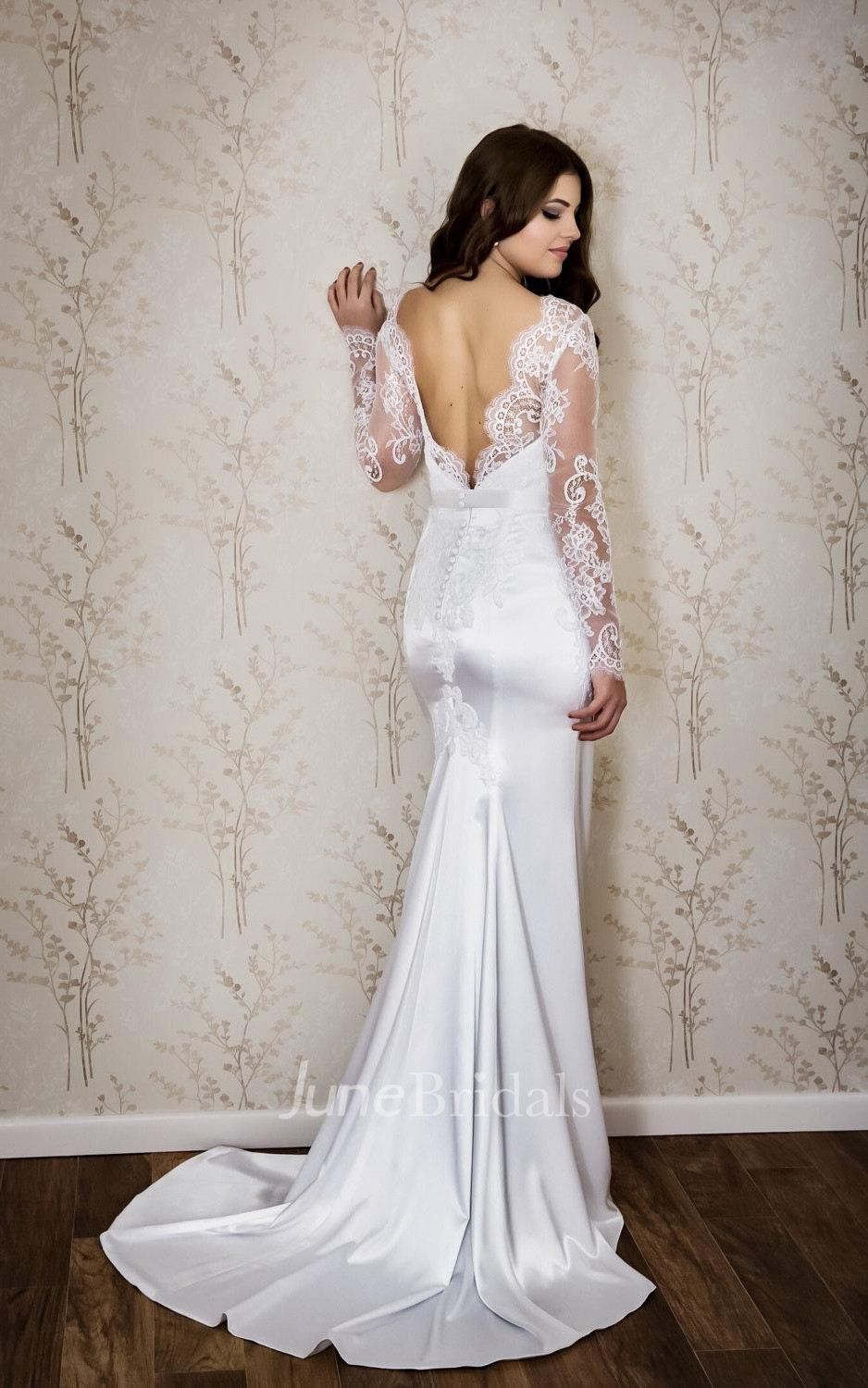 sexy mermaid wedding dresses sexy mermaid wedding dresses Sexy Bateau Neck Long Sleeve Mermaid Satin Wedding Dress With Lace