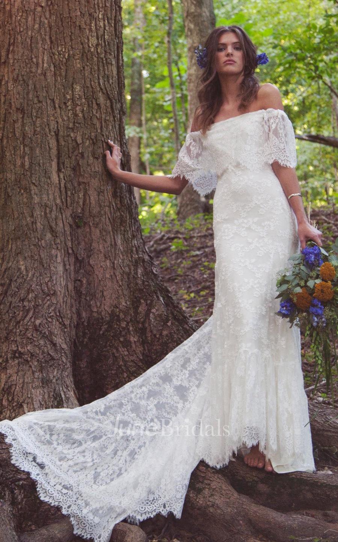 boho off shoulder sheath scalloped lace wedding dress with long train pET cheap boho wedding dresses Boho Off Shoulder Sheath Scalloped Lace Wedding Dress With Long Train