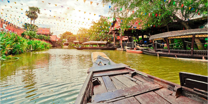泰國大城必去景點   大城水上市場 Ayutthaya Floating Market-遊船、泰式舞蹈表演、好吃好買又好逛的水上市場。雖然很觀光,景色卻很水噹噹。
